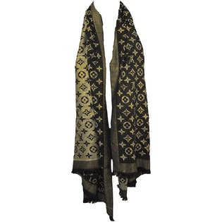 Gold and Black Metallic Scarf by Louis Vuitton
