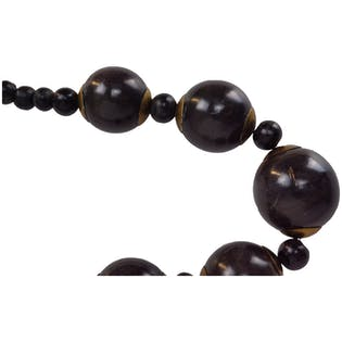 Gold and Black Sphere Short Necklace