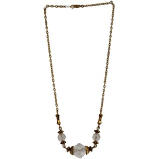 70's Gold and Clear Short Necklace by Hattie Carnegie