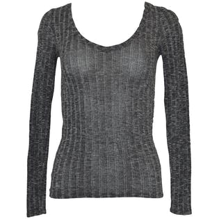 Gray Ribbed V-Neck Sweater by Express