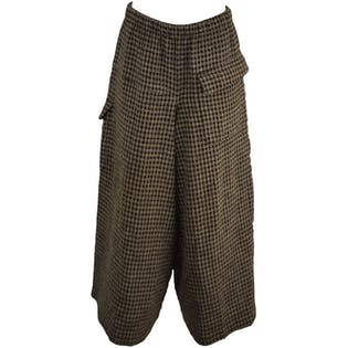 Gray and Black Checkered Gauchos by Comme Des Garcons