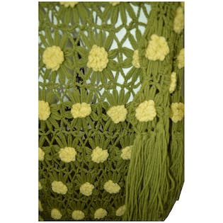 Green Knit Set with Yellow Knit Flowers