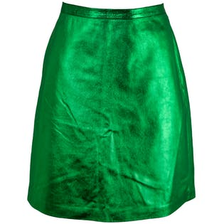 Green Metallic Leather Skirt by Opening Ceremony