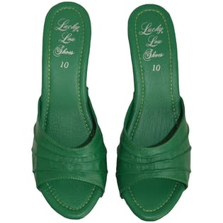 Green Wooden Wedges by Lucky Lou Shoes