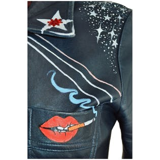 Hand Painted Navy Leather Jacket by Banana Republic