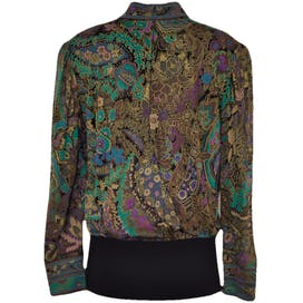High Neck Patterned Blouse with Elastic Waistband by Leonard