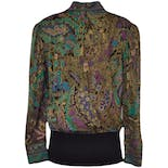 another view of High Neck Patterned Blouse with Elastic Button