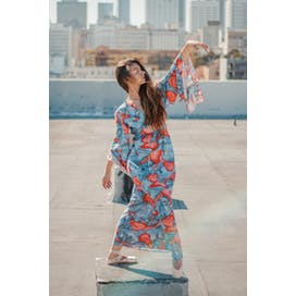 Blue Maxi Dress with Red Pattern by People Outdoors