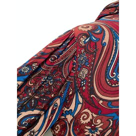 60's Red & Blue Paisley Midi Dress With Pussycat Bow Ascot