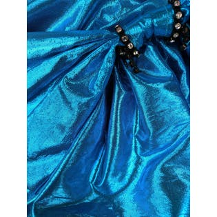 80's Electric Blue Metallic Strapless Pleated Ruffle Mini Party Dress by Gunne Sax