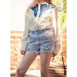 another view of 70's Light Blue Distressed Denim Shorts