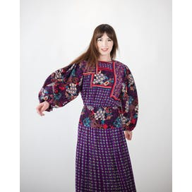 80's Aubergine Georgette Midi Dress by Diane Freis
