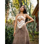 another view of Brown and White Crocheted Halter Top by She's