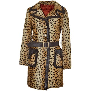 Leopard Coat With Leather Trim by Lilli Ann