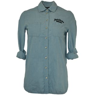 Light Blue Button Down with Embroidered Wording
