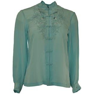 Light Blue Embroidered Silk Blouse by Peony