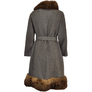 Long Gray Assymetrical Fur Trim Coat