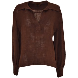Long Sleeve Brown Wool Linen Blouse by Donald Davies