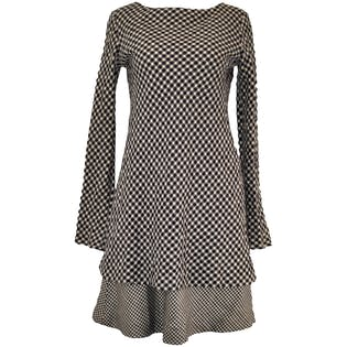 Long Sleeved Houndstooth Wool Dress