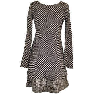 Y's Long Sleeved Houndstooth Wool Dress