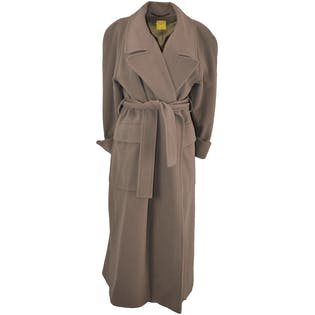 Long Wool Taupe Coat by Mandi