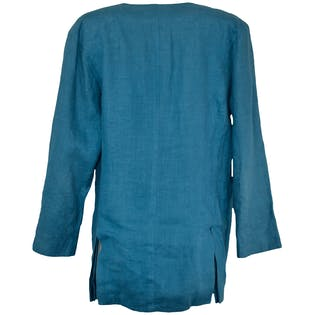 Medium Blue Linen Blazer by Nancy Heller