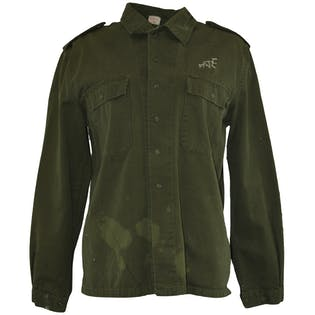 Military Style Jacket with Patches and Embroidery
