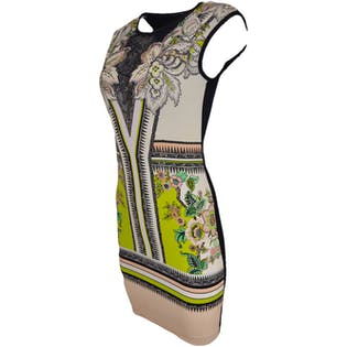 Modern Printed Two Toned Dress by Roberto Cavalli