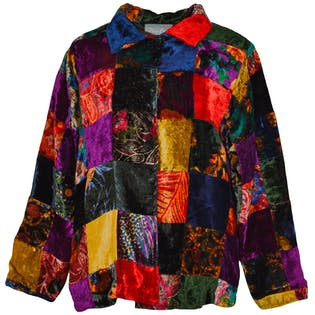 Multicolor Patchwork Design Coat by Cover Charge