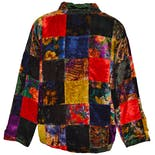 another view of Multi Color Patchwork Design Coat by Cover Charge