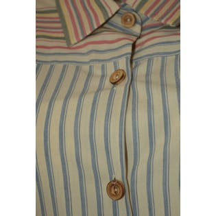 Multicolored Striped Button Up Dress with Collar by Schrader