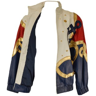 Nautical Red, White, and Blue Leather Jacket by Lillie Rubin