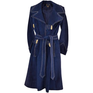 Navy Blue Suede Coat With Heavy White Stitching by Eva's Don Carlos