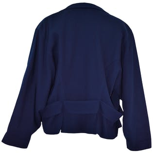 Navy Blue Wool Dolman Sleeved Jacket by Wilfrid Grintain