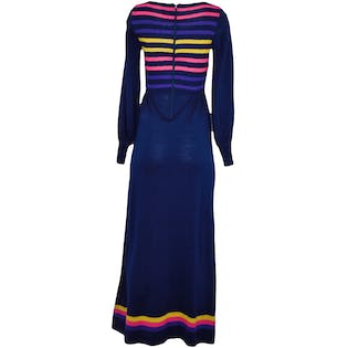 Navy Striped Maxi Sweater Dress by Roncelli
