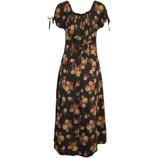Off the Shoulder Charcoal and Floral Maxi by Le de but de la mode