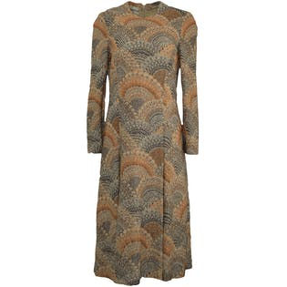 Orange and Charcoal Scalloped Patterned Dress by Adele Simpson