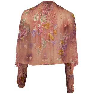 Pink Flowy Blouse with Flowers by Larian
