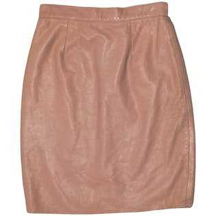 Pink Leather Skirt by Vakko