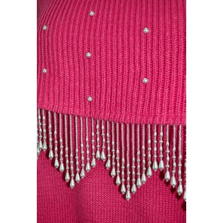 Pink Off The Shoulder Sweater with Beading by Cervelle