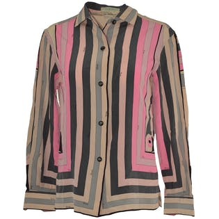 60's/70's Pink and Gray Button Down Shirt by Emilio Pucci