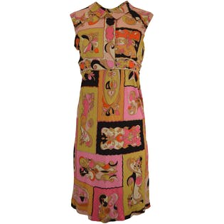 60's/70's Pink and Yellow Patterned Silk Dress by Emilio Pucci