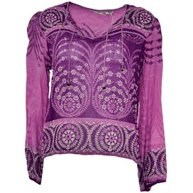 Purple Printed Boho Blouse by Fashion Girls