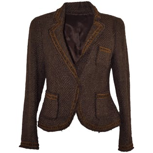Brown Tweed Blazer by Anne Klein