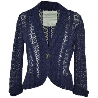 Navy Lace Blazer by Beth Bowley