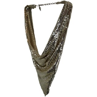 Silver Metal Mesh Scarf Necklace