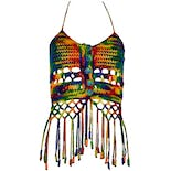 Rainbow Knit Halter with Fringe