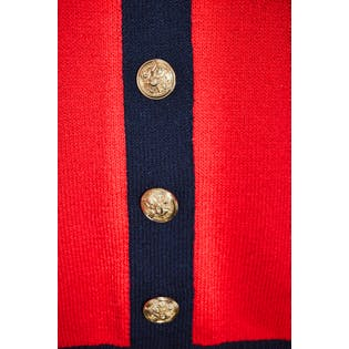 Red Cardigan with Black Trim and Gold Buttons by St. John