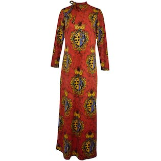 Red Crown Crest Maxi Dress by Galerie