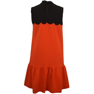 Red Drop Waist Dress with Black Scalloped Neckline by Victoria Beckham for Target